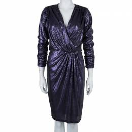 Tadashi Shoji Purple All Over Sequin Embellished Draped Front Dress S