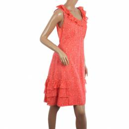 Marc By Marc Jacobs Brightest Coral Cosmo Print Cotton-Silk Ruffle Dress M 25465