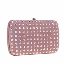 Gucci Pink Crystal Studs Suede Broadway Clutch 4083