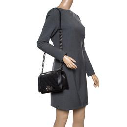 Chanel Black Quilted Leather Medium Wild Stitch Boy Flap Bag 158459