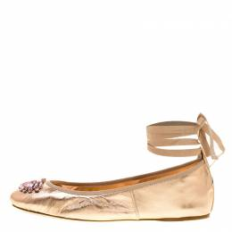 Jimmy Choo Metallic Rose Leather Grace Crystal Embellished Ankle Wrap Ballet Flats Size 41