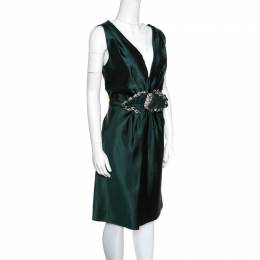 Alberta Ferretti Green Crystal Embellished Waist Detail Sleeveless Dress M