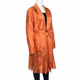 Rochas Orange San Gallo Eyelet Embroidered Duchesse Satin Belted Overcoat L 158438