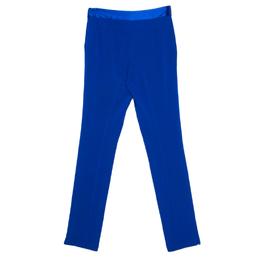 Diane Von Furstenberg Cobalt Blue Textured Crepe Genesis Long Pants XS 158970