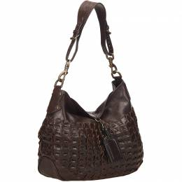 Mulberry Dark Brown Woven Leather Shoulder Bag 159108