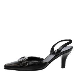 Salvatore Ferragamo Black Leather Slingback Sandals Size 37 134027
