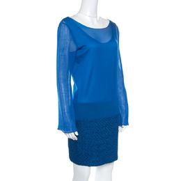 Missoni Blue Textured Lurex Knit Detail Shift Dress M 159450