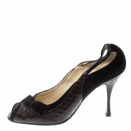 Dolce&Gabbana Brown Velvet and Python Pumps Size 38