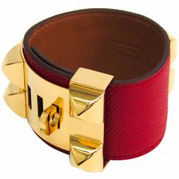 Hermes Collier De Chien Red Epsom Leather Gold Plated Wide Cuff Bracelet 160928