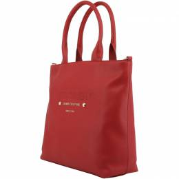 Versace Jeans Red Faux Pebbled Leather Tote