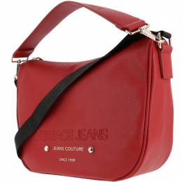 Versace Jeans Red Faux Pebbled Leather Messenger Bag