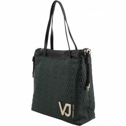 Versace Jeans Black Signature Faux Leather Drawstring Tote