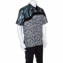Kenzo Multicolor Scribble and Stripe Printed Cotton Short Sleeve Shirt L 149703