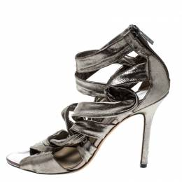 Jimmy Choo Metallic Grey Leather Ankle Strap Sandals Size 38