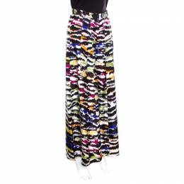 Missoni Multicolor Abstract Printed Silk Wide Leg Pants M 163340