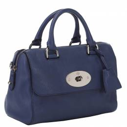 Mulberry Navy Blue Grained Leather Del Rey Satchel Bag 134249