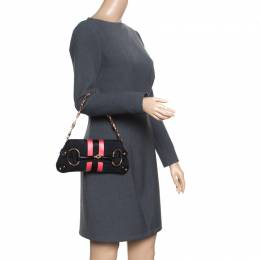 Gucci Black/Pink GG Canvas and Satin Small Limited Edition Tom Ford Horsebit Web Chain Clutch 164220