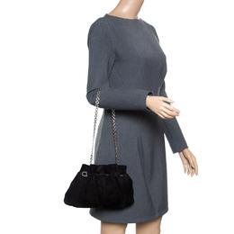 Salvatore Ferragamo Black Suede Chain Shoulder Bag