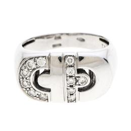 Bvlgari Parentesi Diamond 18k White Gold Ring Size 52