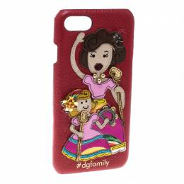 Dolce&Gabbana Red Leather Embellished #dgfamily Patch Iphone 6 Case