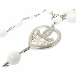 Chanel CC Faux Pearls Heart Long Necklace 164848