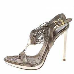 Baldinini Metallic Grey Strappy Leather Sandals Size 36 166589