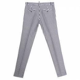 Dsquared2 Monochrome Cotton Silk Houndstooth Patterned Pants S