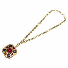 Chanel Vintage Multicolor Stones Gold Tone Pendant Necklace 164846