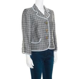 Armani Collezioni Houndstooth Patterned Jacquard Three Button Blazer L