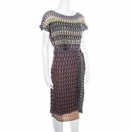 Missoni Multicolor Perforated Knit Short Sleeve Wrap Dress M 167391