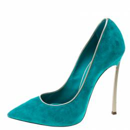 Casadei Aqua Green Suede Pointed Toe Pumps Size 37