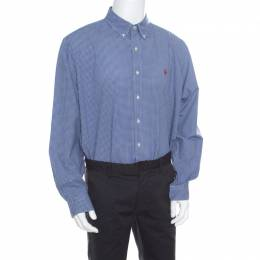 Ralph Lauren Blue Gingham Checked Cotton Logo Embroidered Long Sleeve Shirt XXL 168883