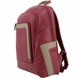 Piquadro Red Leather Backpack