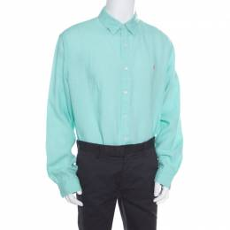Ralph Lauren Mint Green Linen Logo Embroidered Slim Fit Button Down Shirt XXL 168926