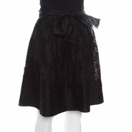 Ermanno Scervino Black Cashmere and Silk Bend Floral Lace A Line Skirt S 170216