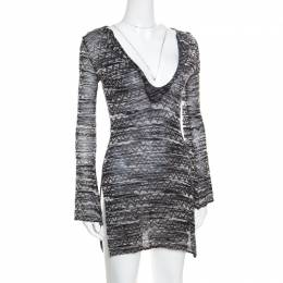 M Missoni Monochrome Chevron Patterned Perforated Knit Flared Sleeve Tunic S 170649