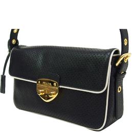 Prada Black/White Perforated Leather Top Handle Bag
