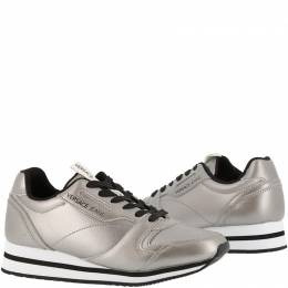 Versace Jeans Silver Faux Leather Lace Up Sneakers Size 37