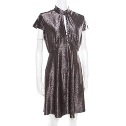 Just Cavalli Silver Textured Short Sleeve Keyhole Detail Dress M 174802