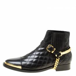 Balmain Black Quilted Leather Chain Embellished Ankle Boots Size 39 175501