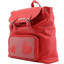 Love Moschino Red Faux Leather Studded Backpack 169700