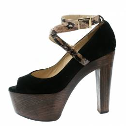 Jimmy Choo Black Suede And Embossed Python Leather Ankle Strap Platform Pumps Size 38