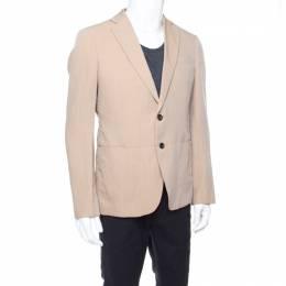 Armani Collezioni Beige Herringbone Linen Wool Tailored Blazer L 176918