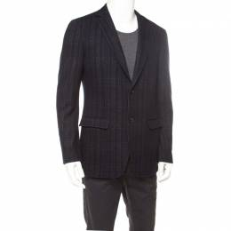 Salvatore Ferragamo Black Cotton Wool Checked Tailored Blazer L 176932