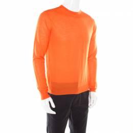 Prada Arancio Orange Rib Knit Crew Neck Sweater L 178105
