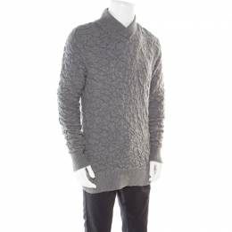 MCQ by Alexander McQueen Grey Crinkle Effect Faux Wrap Collar Pullover M 178056