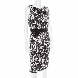 Paule Ka Monochrome Printed Silk Bow Detail Sleeveless Dress M
