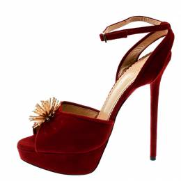 Charlotte Olympia Red Suede Orbital Pomeline Peep Toe Ankle Strap Sandals Size 39
