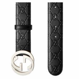 Gucci Black Guccissima Leather Belt Size 100CM 201347