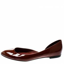 Bottega Veneta Brown Patent Leather D'orsay Ballet Flats Size 38.5